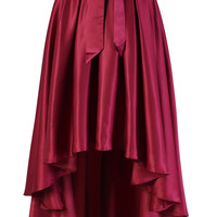 Bowknot Asymmetric Waterfall Skirt in Wine Red Red