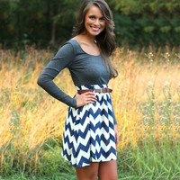 Blue Striped Long Sleeve Dress