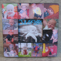 """Baby's First Year Personalized Picture Frame, Custom Baby Collage Picture Frame 8"""" x 8"""""""
