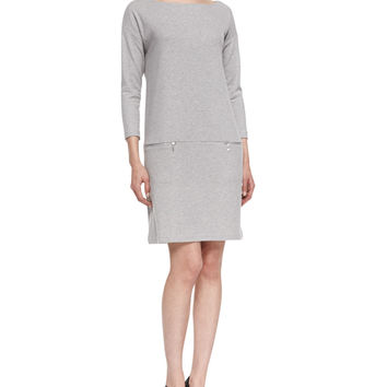 Knit Zip-Pocket Shift Dress,