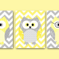Owl Decor Owls Nursery Baby Nursery Art Decor Kids wall art Baby Girl Nursery Print Baby room decor Kids Art Girl Print set of 3 11x14 grey