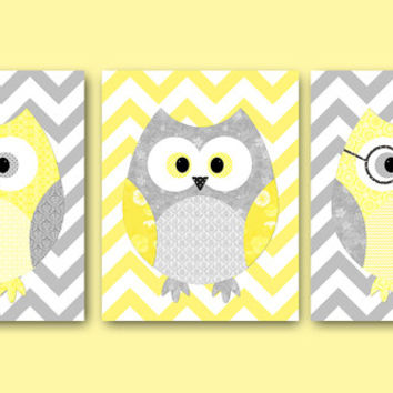 Owl Decor Owls Nursery Baby Art Kids Wall Print Room Set Of 3 11x14 Grey