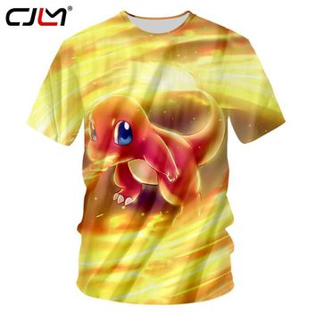 CJLM  Tshirt Yellow 2018 Summer Tops Men Funny Print Drake 3d Tshirts Casual Short Sleeve Fitness Workout Shirts UnisexKawaii Pokemon go  AT_89_9