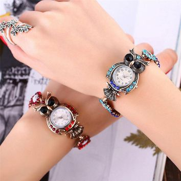 Vintage Style Jeweled Owl Watch