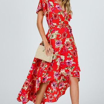Gardens of Paradise High Low Wrap Dress - Tomato