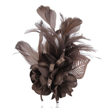 Two different styles Cloth corsage Hair Clip Fascinator Wedding Party Headdress Feather Flower Cocktail Hair Clip Hair accessory