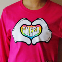 Heart Hands Cheer Shirt. Long Sleeve T-Shirt. Love Cheer. Choose Size and Color.
