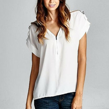 Modern Zip Stud White Blouse