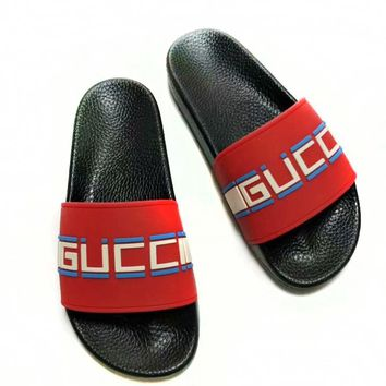 GUCCI street fashion men and women models printed letter leather casual sets of feet sandals Red