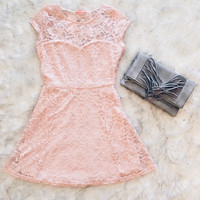 A Jessie Lace Dress in Blush