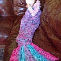 Hand Crochet Mermaid tail blanket lapghan, mermaid tail lap blanket, mermaid photo prop, preschool, child, adult, valentines gift.