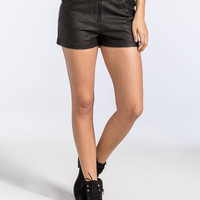 Billabong Desert Foxx Womens Faux Leather Shorts Black  In Sizes