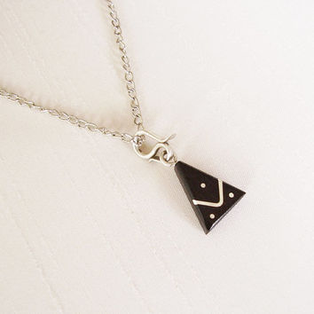 SALE - Ebony and Sterling Silver Triangle Pendant, silver plated chain - Simple Original Unique Handmade Necklace - Contemporary Jewelry
