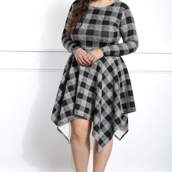 Checker Print Plus Size A-line Dress