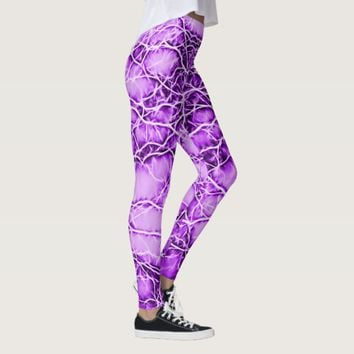 Purple lightning, bolts pattern, violet thunders leggings