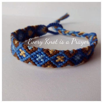 For Men Brown Blue Diamond pattern Macrame Knotted Friendship Bracelet