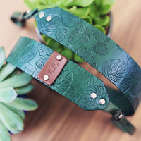 Custom Palm leaves Pattern Leather Camera Strap, Handmade personalized gift, tropic Monstera, custom name initials coordinates