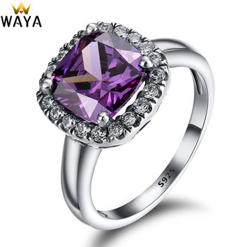 925 Sterling Silver Rings Finger Amethyst Gem With Cubic Zirconia For Women Ring Wedding Party Birthday Elegant Fashion Jewelry