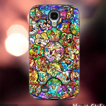MC12Y,8,all princess,characters,stained,glass-Accessories case cellphone- Design for Samsung Galaxy S5 - Black case - Material Soft Rubber