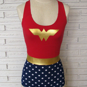 Child's Wonder Woman Leotard Bodysuit Aerial Costume, Custom Made