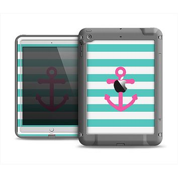 The Teal Striped Pink Anchor Apple iPad Mini LifeProof Fre Case Skin Set
