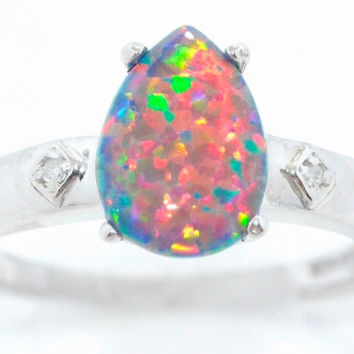 10x7mm Black Opal Pear Diamond Ring .925 Sterling Silver Rhodium Finish White Gold Quality