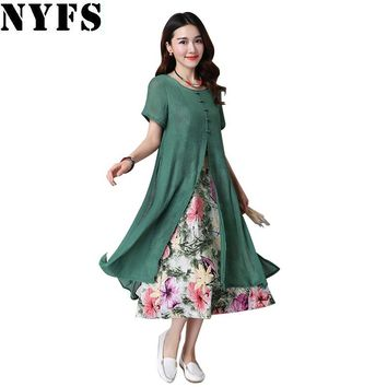 2018 New Summer Dress Short Sleeve Cotton linen Ladies Lotus long dress Fake two pieces Women Dress Female Vestidos Robe