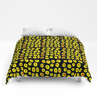 red and yellow polka dot- polka,polka dot,dot,pattern,circle,disc, point,abstract, minimalism Comforters by oldking