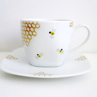 Bees and Golden Honey Combs Teacup and Saucer by SwirlyGarden