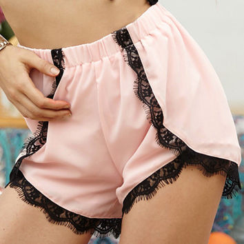 Casual High Waist Lace Shorts