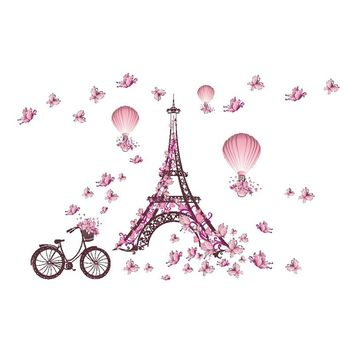 Romantic Eiffel Tower Pink Butterfly Balloon Decals DIY Art Mural Decor Removable Wall Stickers TV Background Home Decoration