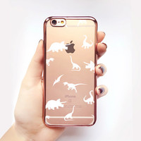 Transparent Dinosaurs iPhone Case - Transparent Case - Clear Case - Transparent iPhone 6 - Transparent iPhone 6S - Gel Case - Soft TPU