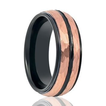 Aydins Rose Gold Hammered Center & Black Grooved Tungsten Wedding Ring for Men 8mm Stepped Edge Tungsten Carbide Wedding Band