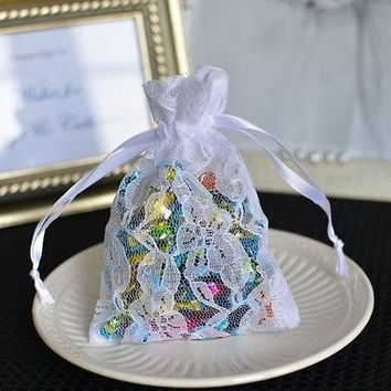 12 White Small Flower Lace Favor Bag Pouches with Satin Ribbon Wedding Birthday Baby Shower