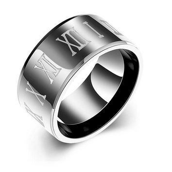 Roman Numerals Black Ring
