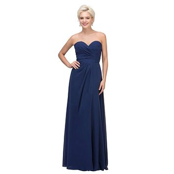 Starbox USA 6425 Strapless Long Bridesmaid Dress with Slit Navy Blue