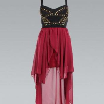 Black & Red High-Low Dress with Stud Embellished Top