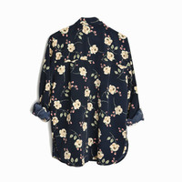 Vintage 90s Black Floral Blouse / Long Sleeve Top - women's small