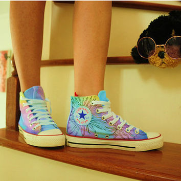 Custom shoes women shoes  high tops painting galaxy converse