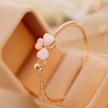 18k Yellow Gold Filled Clear Austrian Crystal Bracelet Bangle Jewelry Flower Women Jewelry SM6