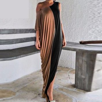 Womens Fashion Batwing Single Shoulder Sexy Dresses Casual Loose Long Maxi Dress Plus Size