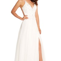 Alyce 60062 Beaded Lace Chiffon Dress with Side Slit