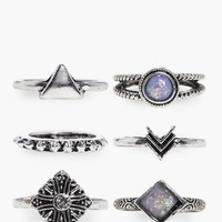 Paige Stone Set 6 Ring Pack | Boohoo