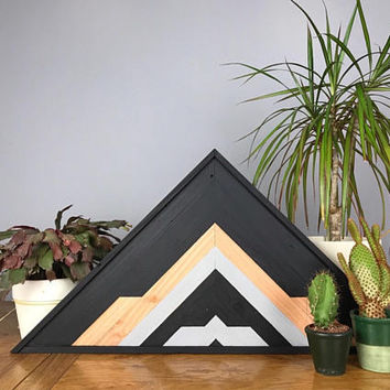 Mountain Wood Art Wall, Geometric Wood Art Wall Rustic, Reclaimed Wood Triangles, Industrial Home Ideas, Geometric Wood Art Wall Bathroom