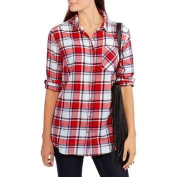 Brooke Leigh Women's Plaid Boyfriend Flannel Shirt - Walmart.com