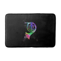 French Horn Rainbow Black Bathmat