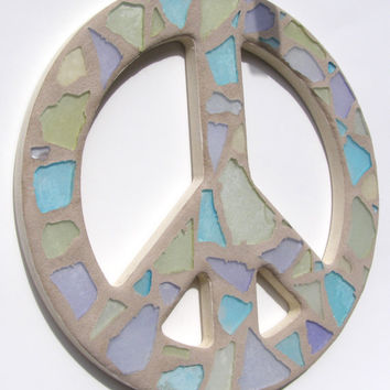 Mosaic Glass Peace Sign / Peace Sign Wall Art / Peace Sign Wall Decor / Sea Glass Art /  Mosaic Art / Hippie / 60's