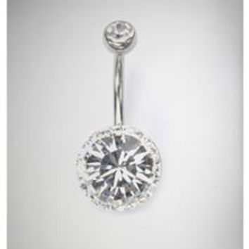 14 Gauge Swarosvski Big Gem Banana Belly Button Ring