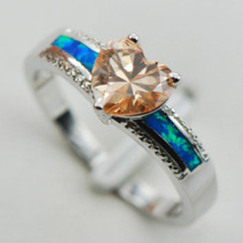 Retro female Fiery Opal Ring Morganite 2014 novel Blue TOPAZ cocktail jewelry