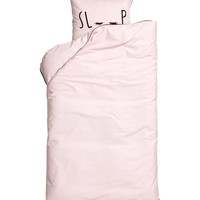 H&M - Duvet Cover Set - Light pink